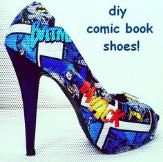 Inside my HARTX3: DIY Comic Shoes  Can you not see these on the nerd in your life?  My daughter might wear the flats made like this.