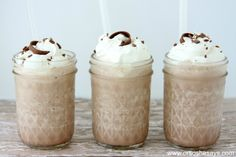 Frozen Hot Chocolate is the perfect treat for a hot summer day! All the deliciousness of a warm mug of hot cocoa, but it's cold and refreshing!