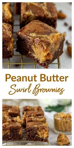 Incredibly gooey and delicious, this recipe for Peanut Butter Swirl Brownies takes these little morsels up a million notches! They keep for days and can be frozen! #peanutbutter #brownies #chocolate #easy #bars