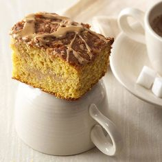 pumpkin latte coffee cake - and the best twist on 12 fall recipes Just Desserts, Delicious Desserts, Dessert Recipes, Yummy Food, Dessert Food, Delicious Dishes, Yummy Eats, Baking Recipes, Pumpkin Coffee Cakes