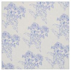 Chrysanthemum flower Blue outline drawing fabric