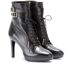 Burberry London Manners Brogued Leather Ankle Boots (€905) ❤ liked on Polyvore featuring shoes, boots, ankle booties, booties, burberry, heels, black, high heel bootie, black booties en leather ankle boots