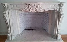 "Although, it's from the 19 century instead of 18th century (during the Rococo period in France), I kinda like it. Using this as inspiration.   Fine, French, Louis XV style fireplace surround: In solid, carved Carrara marble. 19th century.  61"" wide by 40"" high by 20"" deep"