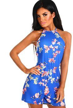 5c599885b4a4 Pretty and Playful Cobalt Blue Floral Halterneck Playsuit