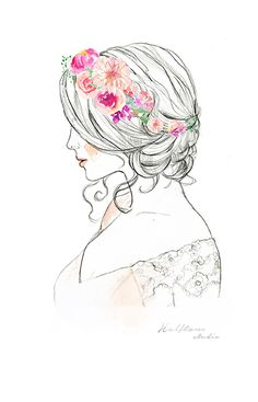 watercolor hair woman, bride,  flowers drawing illustration, bridal hair, watecolor logo, watercolor flowers, watercolor woman