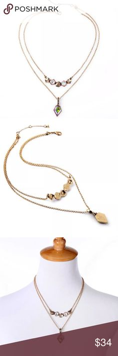"""Stone Glam Necklace Gold chain pave necklace with dual layer detachable double necklace. Layered with gorgeous stones in pink, and Cubic Zirconia detail. Length adjustable 16-22"""". Jewelry Necklaces"""