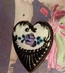 Small Brass Victorian Heart Button Enameled Top with Purple Hand Painted Rose