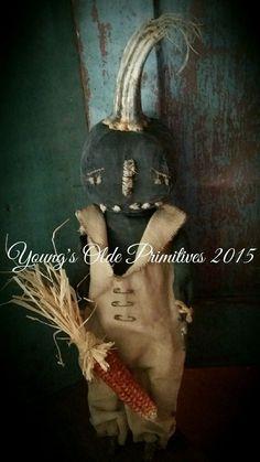 Primitive JOL Black Pumpkin Doll Fall Halloween #NaivePrimitive