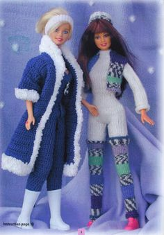 Barbie Doll FREE - there are several patterns besides this one Barbie Knitting Patterns, Doll Patterns Free, Barbie Clothes Patterns, Crochet Barbie Clothes, Crochet Doll Pattern, Clothing Patterns, Small Crochet Gifts, Cute Crochet, Knitted Dolls