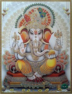 Hindu Art: Ganesha: Lord of New Beginnings, Remover of Obstacles.Ganesha should be every Counselors favorite Hindu God ! Lord Ganesha, Lord Shiva, Jai Ganesh, Indian Gods, Indian Art, Shree Ganesh, Hindu Deities, God Pictures, Hindu Art