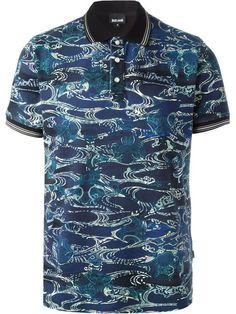 JUST CAVALLI Abstract Print Polo Shirt. #justcavalli #cloth #shirt