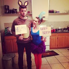 Road Runner and Wile E. Coyote Halloween Costume. #looneytunes #couplescostumes #roadrunner #coyote