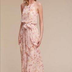 Sold Out at BHLDN & Anthropologie. Serenity by Donna Morgan Blush Wildflower Alana Chiffon Gown. Vestido Chiffon Floral, Floral Gown, Floral Print Maxi Dress, Floral Dress Wedding, Pink Wedding Guest Dresses, Wedding Blush, Chiffon Maxi, Maid Of Honour Dresses, Mob Dresses