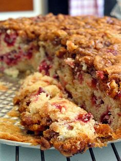 Cranberry Cake - sweet with a golden crumb, soft and moist, and dense without being heavy, with juicy explosions of tart cranberries. Decided on this for Christmas Eve Dessert Cranberry Cake, Cranberry Recipes, Holiday Recipes, Cranberry Almond, Sweet Recipes, Cake Recipes, Dessert Recipes, Recipes Dinner, Food Cakes