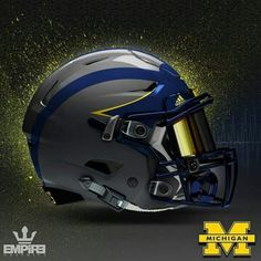 I hate them but this helmet is really cool U Of M Football, Cool Football Helmets, Football Helmet Design, Detroit Football, Michigan Wolverines Football, Sports Helmet, Custom Football, Notre Dame Football, Collage Football