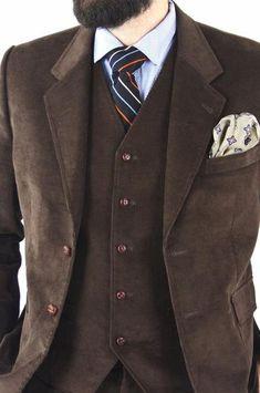 Custom Mod Handmade Brown Corduroy Vintage Style 3 Piece Suit | ModLines
