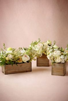 on BHLDN Wooden box planters $8-10 Or we can make our own for the tables!