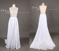 White High Neck Gold Beading Open Back A Line Long Flowy Prom Dress/Long Chiffon Homecoming Dress/Sexy Evening Party Dress $149.00