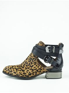 Jeffrey Campbell Everly Cutout Ankle Boot In Leopard With Silver Metal Heel