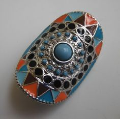 Southwestern-Style Stretch Ring Faux Turquoise Enamel Inlay