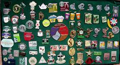 This is my old collection of Starbucks employee apron pins. It is by no means complete ,but it gives you a idea of how many there are out there.