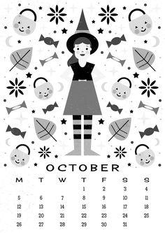Carly Watts Art & Illustration: Free Printable: October Calendar