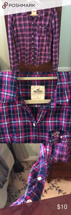 Hollister button down This is a casual button down! The colors are so fun! Hollister Tops Button Down Shirts