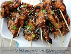 Grilled Sesame Chicken Kabobs healthier version of our favorite Chinese Take-Out recipe Kabob Recipes, Grilling Recipes, Cooking Recipes, Crockpot Recipes, Kebabs, Shish Kabobs, Great Recipes, Dinner Recipes, Favorite Recipes