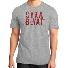 CYKA-BLYAT-Red-Shirt-District-Unisex-Tee-CS-Steam-Russian-Gamer-Meme-GO-dota