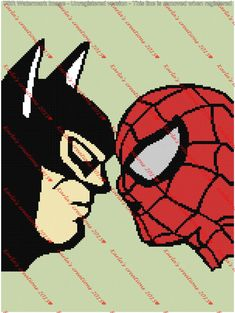 Batman and Spiderman Nose To Nose Graph by KarlasCreationsGraph on Etsy
