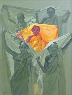 Framed Print Tibetan Buddhist Monk Standing a Loft the Himalayan Mountains