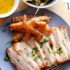 This Slow-roasted Pork belly with Fennel, Red Onion and Apple Salad is a belly filler for sure! Roasted Pork Belly Recipe, Pork Belly Recipes, Meat Recipes, Cooking Recipes, Healthy Recipes, Water Recipes, Recipes Dinner, Grilling Recipes, Slow Roast Pork