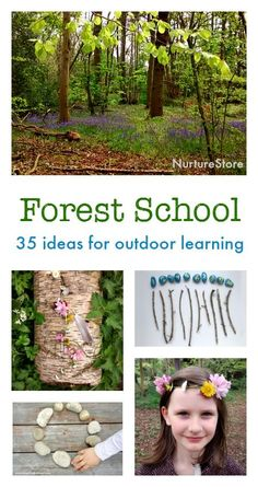 Forest school activities for outdoor learning centers :: nature crafts, nature activities, outdoor math and literacy ideas