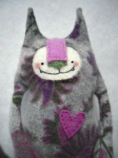Cute, cute, cute!!  Cashmere Stuffed Animal Cat Floral Upcycled Felted Sweater Repurposed