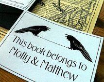 Booklovers Wedding Gift Booklabels twee Raven Ex Libris 15 gepersonaliseerde…