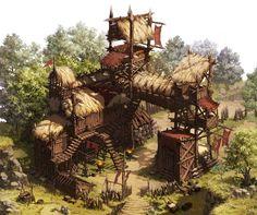 Forest camp fantasy by Siu Fantasy City, Fantasy Map, Fantasy Places, Medieval Fantasy, Fantasy World, Environment Concept Art, Environment Design, Casas Game Of Thrones, Fantasy Setting