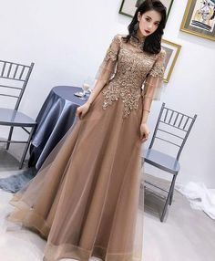 Champagne High Neck Tulle Lace Long Prom Dress, Champagne Evening Dress on Luulla Champagne Evening Dress, Green Evening Dress, Cute Homecoming Dresses, Prom Dresses With Sleeves, Hijab Dress Party, Dress Brokat, Designer Evening Dresses, Mode Style, Pretty Dresses