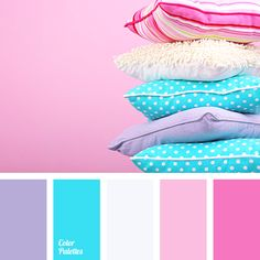 I ❤ cool colors . . . Color palette No 1891~ Effective palette that is built on a combination of contrasting bright blue and pink color, which is supplemented by a more muted lilac and is balanced by neutral white. Juicy blue color makes correct accents in this combination. It is a perfect solution for the design of a children's room.