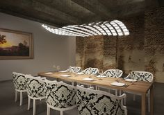 Stunning New Lighting Technologies For Dining Room Interior Decorated With Vintage Design Ideas For Home Inspiration To Your House Futuristisches Design, Design Studio, Wall Design, Design Ideas, Studio Art, Ceiling Design, Cool Lighting, Modern Lighting, Lighting Design