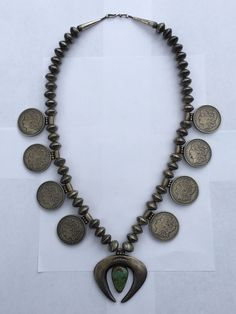 NAVAJO Mercury Dime Half Dollar Squash Blossom NECKLACE Coin Silver NAJA 537g