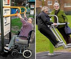 The idea is not new. In 2004 Japan introduced nursing care prevention parks, designed to help keep its rapidly ageing population fit and healthy. In early 2006, research studies in Finland found that after three months of using the exercise equipment in the park, a group of 40 elderly people showed marked improvement in balance, speed and co-ordination..(and hopefully no broke hips)