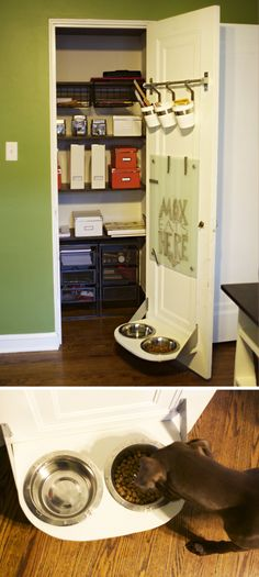 Ikea hack: shelf w/inserted pet food bowls - I'd definitely want to have a lip on the shelf to minimize spillage...