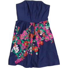 Pre-owned Lilly Pulitzer Navy Strapless Floral Cotton Dress ($69) ❤ liked on Polyvore featuring dresses, floral print dress, flower print dress, blue strapless dress, navy dresses and strapless cotton dress