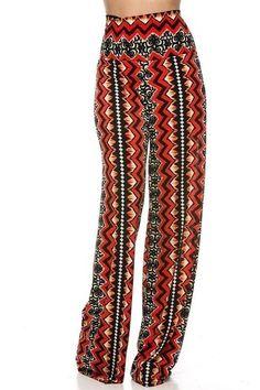 Ethnic Print Wide Leg High Waist Palazzo Pants Plus Size $25.00