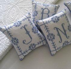 Bluework Monogram Linen Pincushion by CherieWheeler on Etsy, $14.00