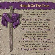 Just hang it on the Cross!