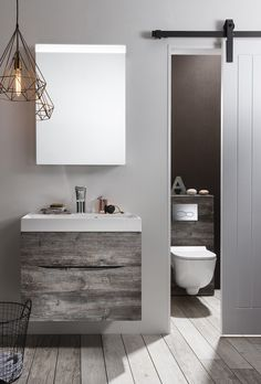 Embrace the trend for natural materials in the home with the wood veneer finish of our Bauhaus Glide II bathroom furniture collection in a stylish Driftwood effect. Visit us at www.ie to view our Bauhaus range. Bathroom Vanity Units Uk, Small Bathroom, Bathroom Beach, Bathroom Ideas, Bathroom Plans, Mirror Bathroom, Contemporary Bathroom Designs, Contemporary Interior Design, Bathroom Furniture