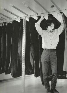 yohji yamamoto amongst fabric rails by takeyoshi tanuma, 1981