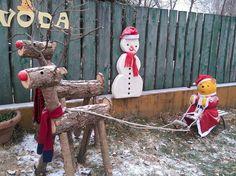 Tél, rénszarvas fából, Mikulás, hóember, Micimackó óvoda Lajosmizse