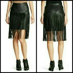 Faux Leather Fringe Skirt NWOT Adorable vegan leather long fringe skirt. Brand new never worn without tags. Mossimo Supply Co Skirts Mini